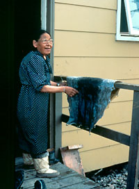 Photography of Qapik Attagutsiak on her porch with a spotted sealskin.