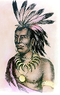 Printed portrait of Miami Chief Little Turtle done in the early 19th century.