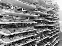 Photograph of the Bata Shoe Museum storage room