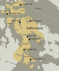 A map rendering depicting the region of the Canadian Arctic populated by the Iglulik Inuit Community.