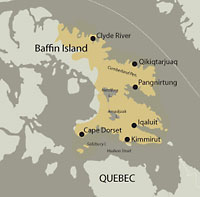 A map rendering of the regions of the Canadian Arctic frequented by the Baffinland Inuit Community.
