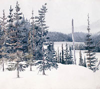 Landscape painting of the view eight miles from Fort Franklin, N.W.T. Painted in March, 1826.